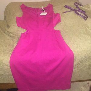 Hot pinks size 2 Express dress with waist cutouts